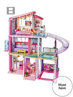 barbie-dreamhousenbsplarge-three-story-dolls-housenbspwith-pool-andnbspslide-plus-lights-sounds-and-70-accessories