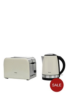 00c67fd4b704 Swan Stainless Steel Kettle and 2-Slice Toaster Twin Pack - Cream