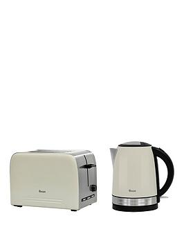 Swan Stainless Steel Kettle And 2-Slice Toaster Twin Pack - Cream