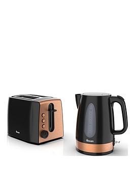 Swan  Kettle And 2-Slice Toaster Twin Pack - Black And Copper