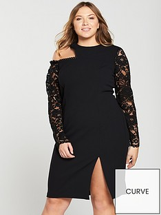 9983a700ac2d V by Very Curve Lace Sleeve Cut Out Bodycon Dress - Black