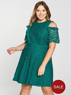 v-by-very-curve-lace-cold-shoulder-skater-dress-jade