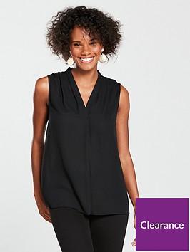 wallis-sleeveless-pleat-neck-top-blacknbsp