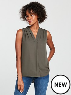 wallis-sleeveless-pleat-neck-top-khakinbsp