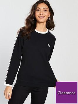 fred-perry-tapednbspcrew-neck-sweatshirt-blackwhite