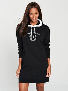 fred-perry-embroidered-sweatshirt-dress-black-white
