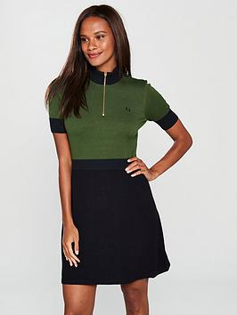 fred-perry-zipper-detail-knitted-dress-greenblack