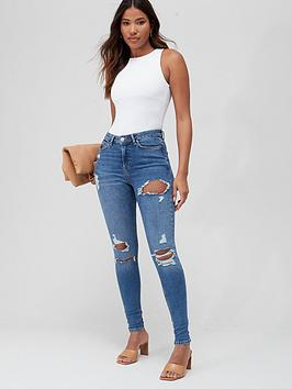 V by Very V By Very Ella High Waist All Over Ripped Jean - Mid Wash Picture