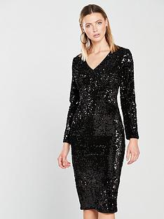v-by-very-plunge-sequin-midi-dress-black