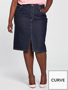 v-by-very-curve-contrast-stitch-denim-skirt