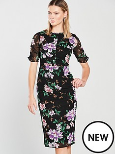 v-by-very-ruched-front-and-sleeve-midi-dress-ndash-floral-print