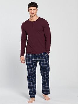 v-by-very-ls-fine-stripe-loungewear-grandad-top-check-bottoms