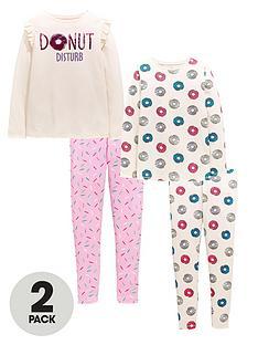 v-by-very-girls-sequin-donut-disturb-2-pack-pyjama-set