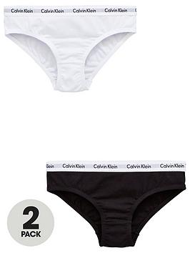 Calvin Klein Calvin Klein Girls 2 Pack Bikini Briefs - White/Black Picture