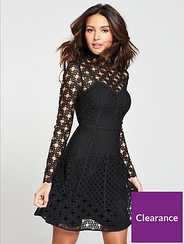 michelle-keegan-high-neck-lace-skater-dress-black