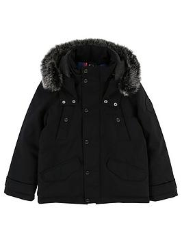 boss-boys-faux-fur-hooded-parka-black