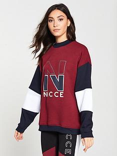 nicce-panelled-oversized-sweat-burgundy