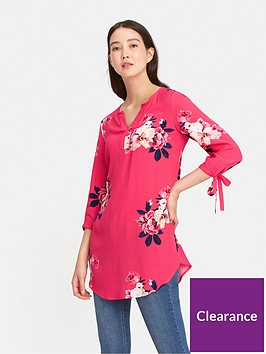 joules-odelle-v-neck-tunic-with-tie-sleeves-raspberry