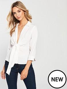miss-selfridge-tie-waist-shirt-ivory