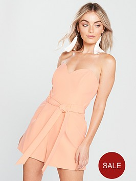 miss-selfridge-smart-tie-front-playsuitnbsp--nude