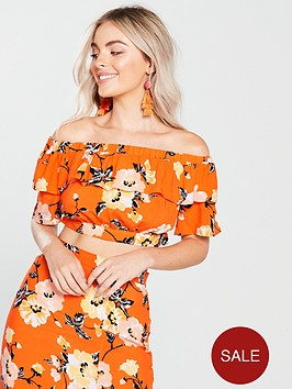 miss-selfridge-miss-selfridge-petite-orange-printed-bardot