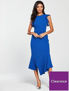 karen-millen-fit-and-flare-ruffle-dress-blue