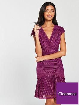 karen-millen-geometricnbspchemical-lace-dress-dark-pink