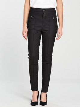 karen-millen-coated-corset-skinny-jean-black