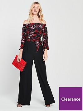 karen-millen-silk-top-bardot-jumpsuit-black