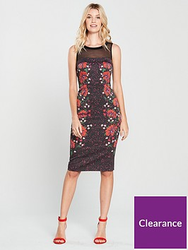 karen-millen-signature-stretch-floral-mesh-detail-dress-black