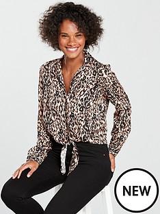 miss-selfridge-animal-print-tie-front-shirt-multi