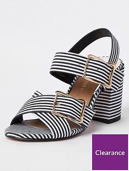river-island-stripe-double-buckle-block-heel-sandal-monochrome
