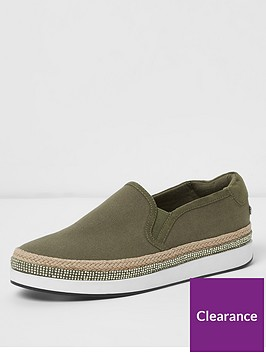 river-island-river-island-wide-fit-slip-on-plimsolls-khaki