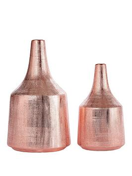 Very Set Of 2 Scratch Effect Vases Picture