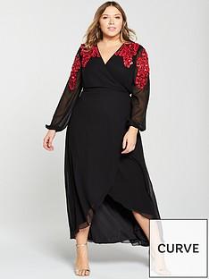 v-by-very-curve-embellished-shoulder-wrap-maxi-dress-black