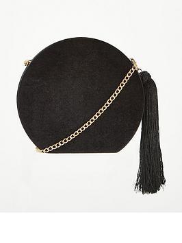 v-by-very-pandora-hard-box-velvet-tassel-cross-body-bag-black