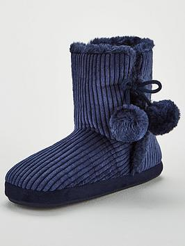 v-by-very-wanda-velvet-cord-slipper-boot-navy