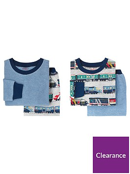 cath-kidston-boys-2-pack-fast-trains-pyjama-set-grey-marl