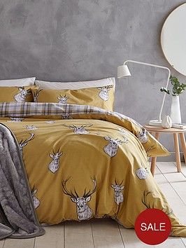 catherine-lansfield-stag-duvet-cover-set-in-ochre