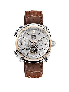 ingersoll-1892-the-michigan-white-rose-gold-and-silver-chronograph-dial-brown-leather-strap-automatic-mens-watch