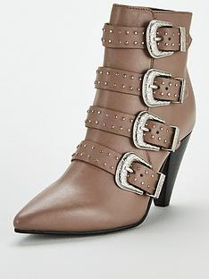 v-by-very-fern-leather-cone-heel-buckle-strap-ankle-boot-grey