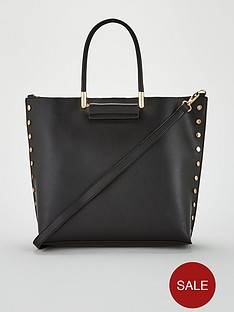 warehouse-stud-detail-mini-shopper-black