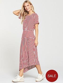 warehouse-mix-and-match-stripe-dress-red