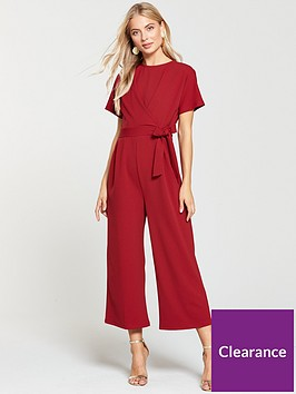 warehouse-tie-front-jumpsuit-red