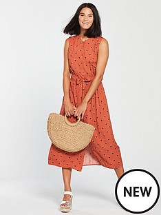 warehouse-bee-print-shirt-dress-orange