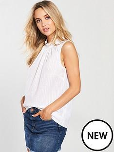 warehouse-high-neck-broderie-sleeveless-blouse-ivory