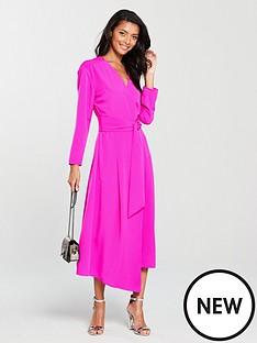 warehouse-o-ring-wrap-midi-dress-pink