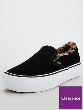 456d97fbcb17b1 Vans Faux Fur Classic Slip-on Platform - Black