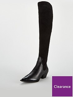 v-by-very-inaya-point-western-stretch-knee-boot-black