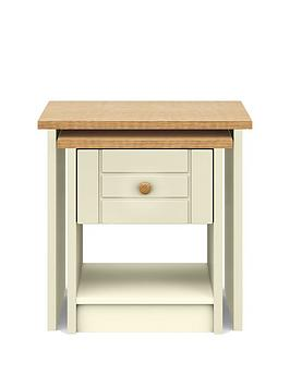 Alderley Ready Assembled Nest Of Tables - Cream/Oak Effect